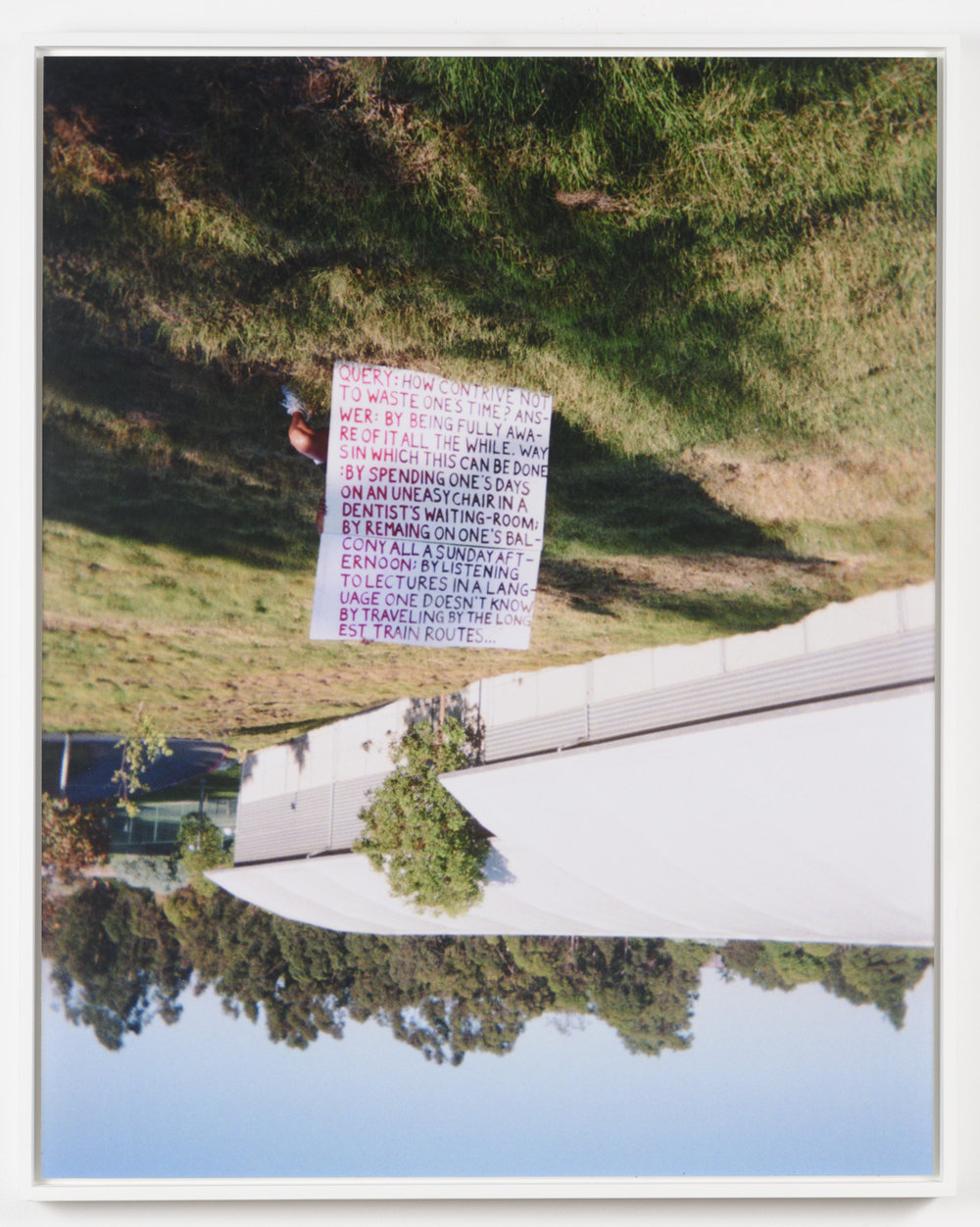 Justin Cole   Query: How Contrive Not (Brentwood / Albert Camus)  (2010) C-print, 16 x 20in.