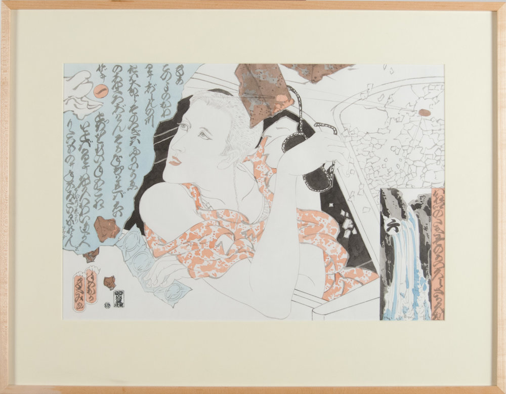 Masami Teraoka   Study for L.A. Freeway Series/Lynda  (1987) Watercolor on paper, 15 x 22.25in.