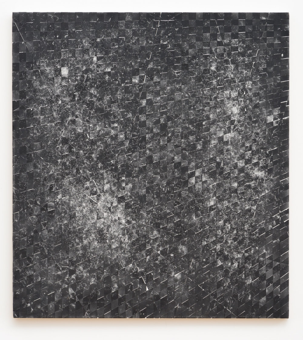 Danny Jauregui   MisRemembered Structure #4  (2016) Enamel and human hair on canvas, 38 x 42in.