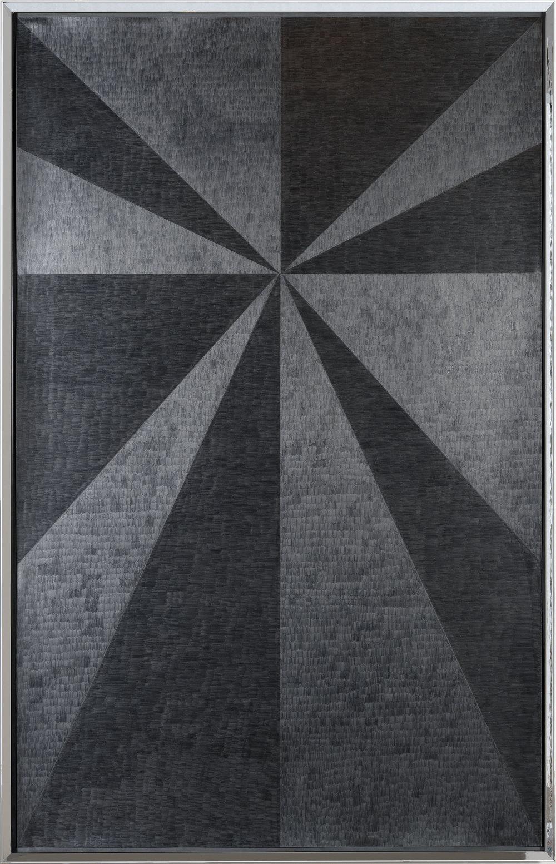 Jenene Nagy   heavy sunshine 1  (2017) Graphite on paper in artist made chromed frame, 43.5 x 68.5in.