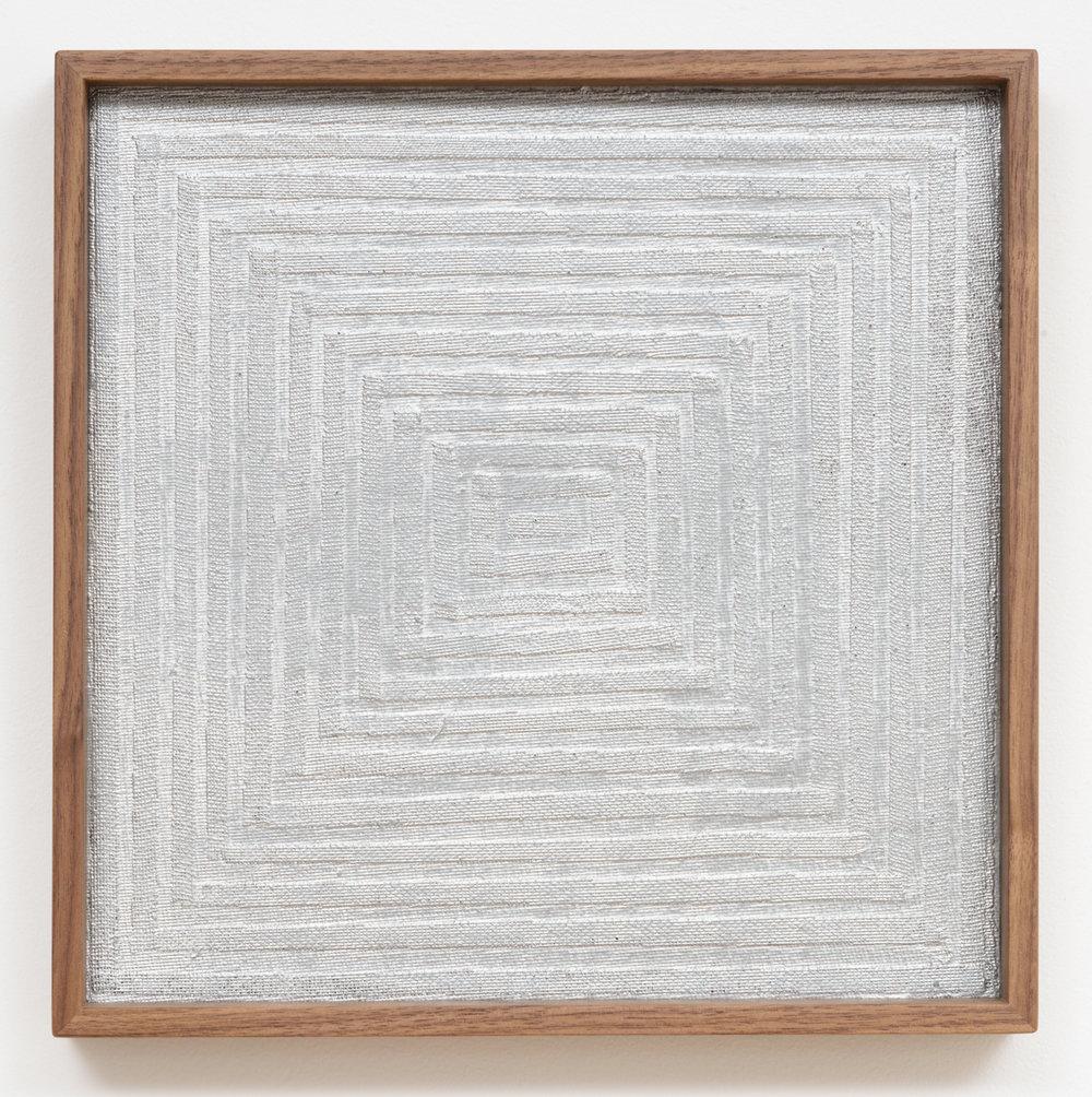 Jenene Nagy   weight/object 11  (2017) Oil on paper, 10 x 10 x 1.5in.