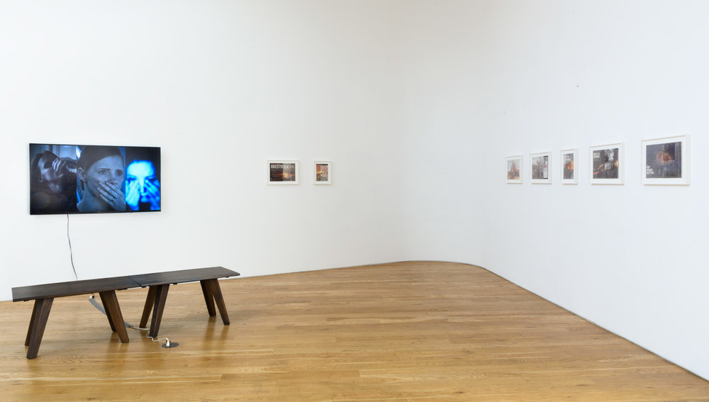 Left : Maura Brewer   Surface of Mars  (2016) Single-channel video, color, sound., 12:20 minutes  Right:  Samira Yamin , Installation view