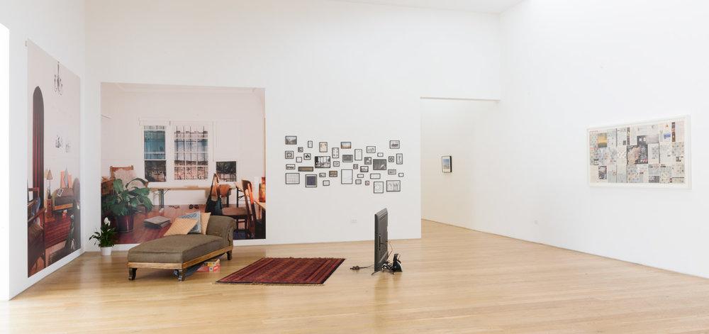Basma Alsharif   Trompe l'Oeil  (2016) 8 min hd video loop, 38 inkjet photographs, 2 inkjet mural photographs, furniture. courtesy of Galerie Imane Farès, 108 x 108in.