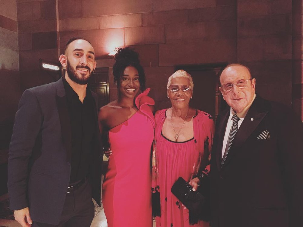 Jake Goldbas with Nia Harris, Dionne Warwick and Clive Davis
