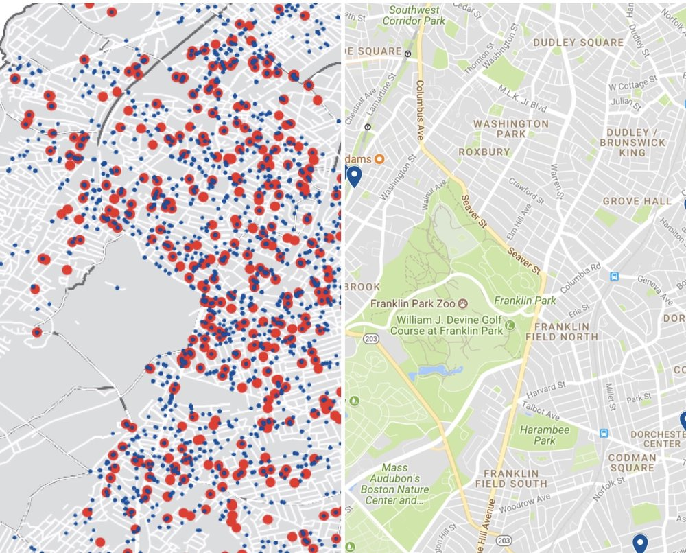 A side-by-side comparison of the MassINC Geography of Incarceration map and a map of Greg Henning's contributions