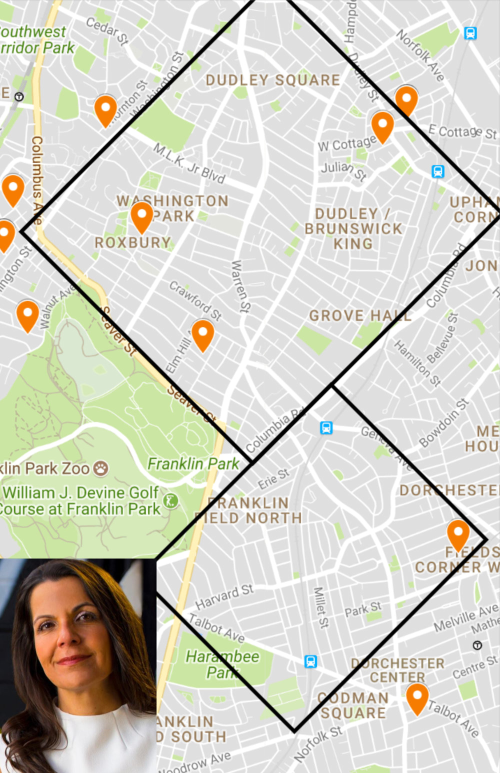 McAuliffe's OCPF constributions mapped in two of Boston's most heavily prosecuted areas