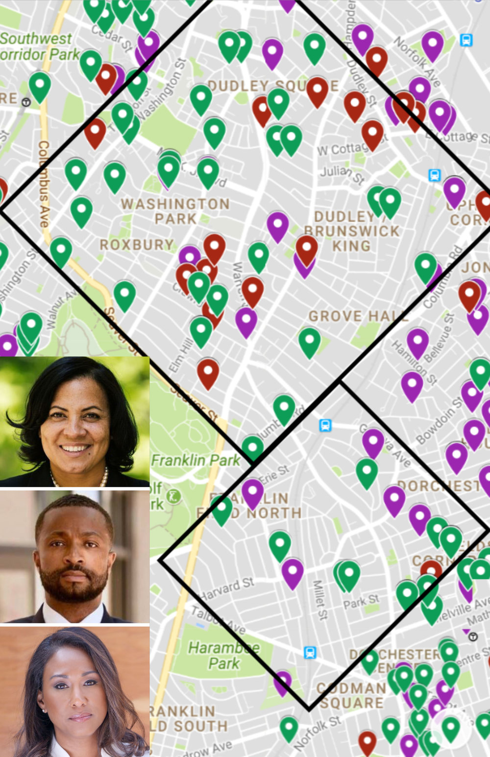 The OCPF contributions from the city's most prosecuted neighborhoods mapped for all three candidates of color