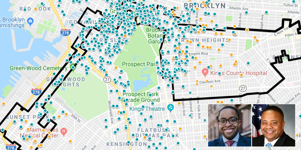 A density map of every contribution in the NYS Board of Elections database reveals Zellnor Myrie (BLUE) has seven times more contributions from Brooklyn addresses than incumbent Jesse Hamilton (ORANGE)
