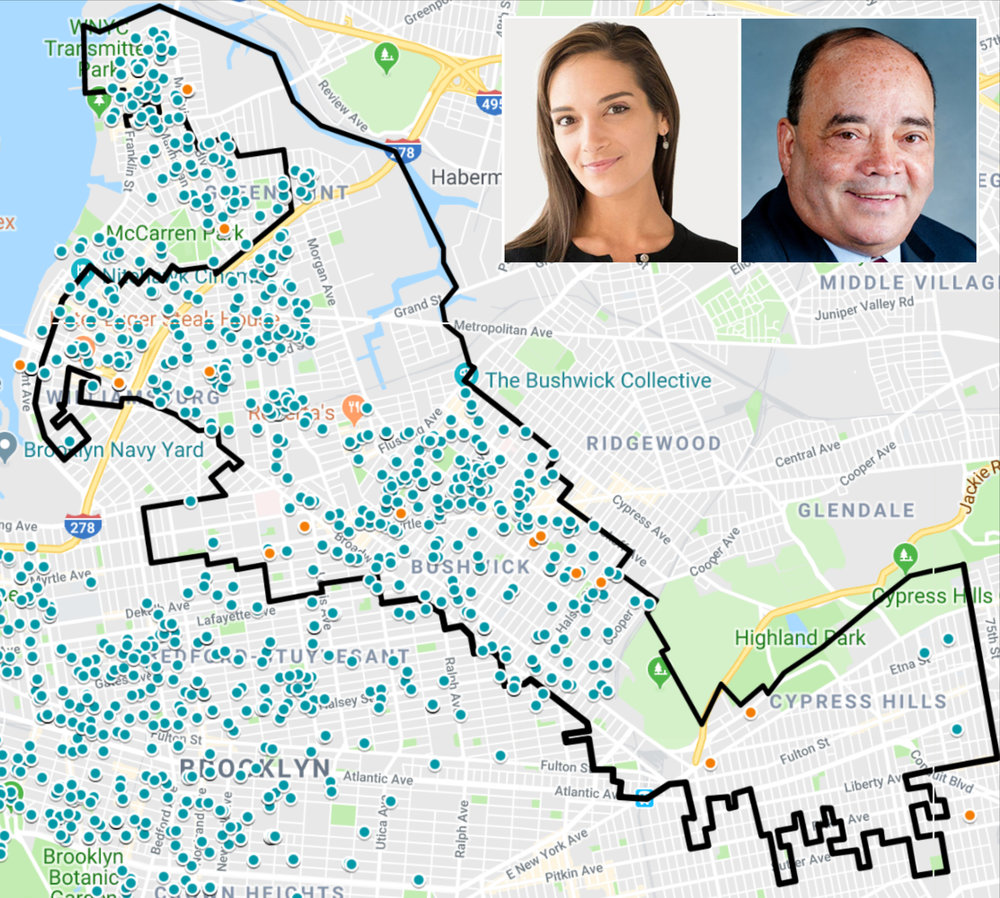 A density map of campaign contributions to both candidates running for New York State Senate District 18