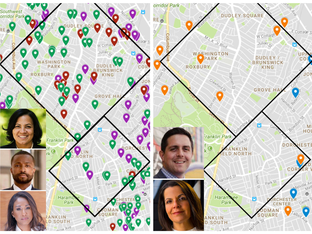 A map geolocating contributions to Suffolk D.A. candidates shows that Rachael Rollins (GREEN) had the highest concentration of contributions spread throughout two of Boston's most prosecuted areas