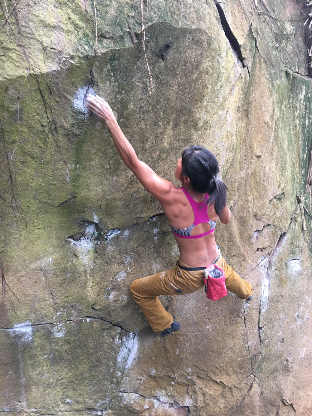 Wai Yi projecting Tropical Parasite V8/9 (Photo credit: Smalls)