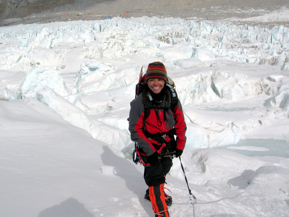 Sophia traversing an ice-fall on Mount Everest.
