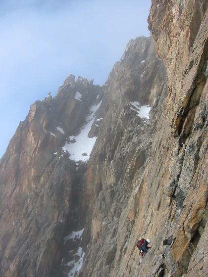 Rock climbing during a Mount Kenya attempt, 2003.