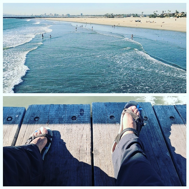 Resting my feet on the Seal Beach Pier after my first 7 miles. On this trip I learned that objects on the coast are farther away than they appear. It took 2 1/2 days and nearly 20 miles until I could no longer see Long Beach in the distance!