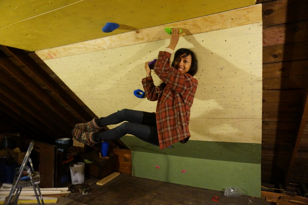 Climbing on our home wall!!