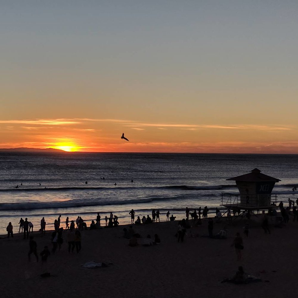 Sunset at Huntington Beach.