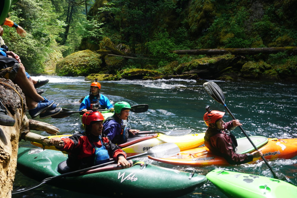Paddlers watch a stylish line off  Wishbone ( Photograph by Adam Edwards).