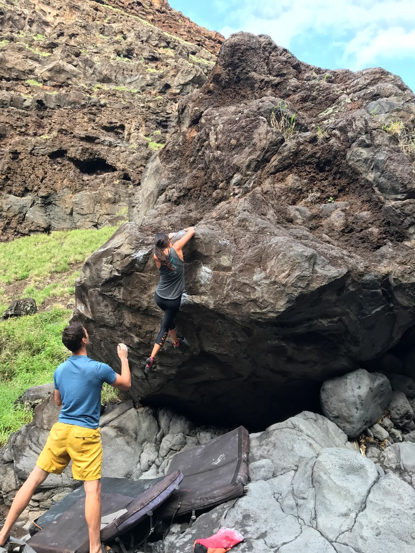 Photo of my friend Alex getting the first female ascent of Kaimana (Photo credit: Wai Yi Ng)