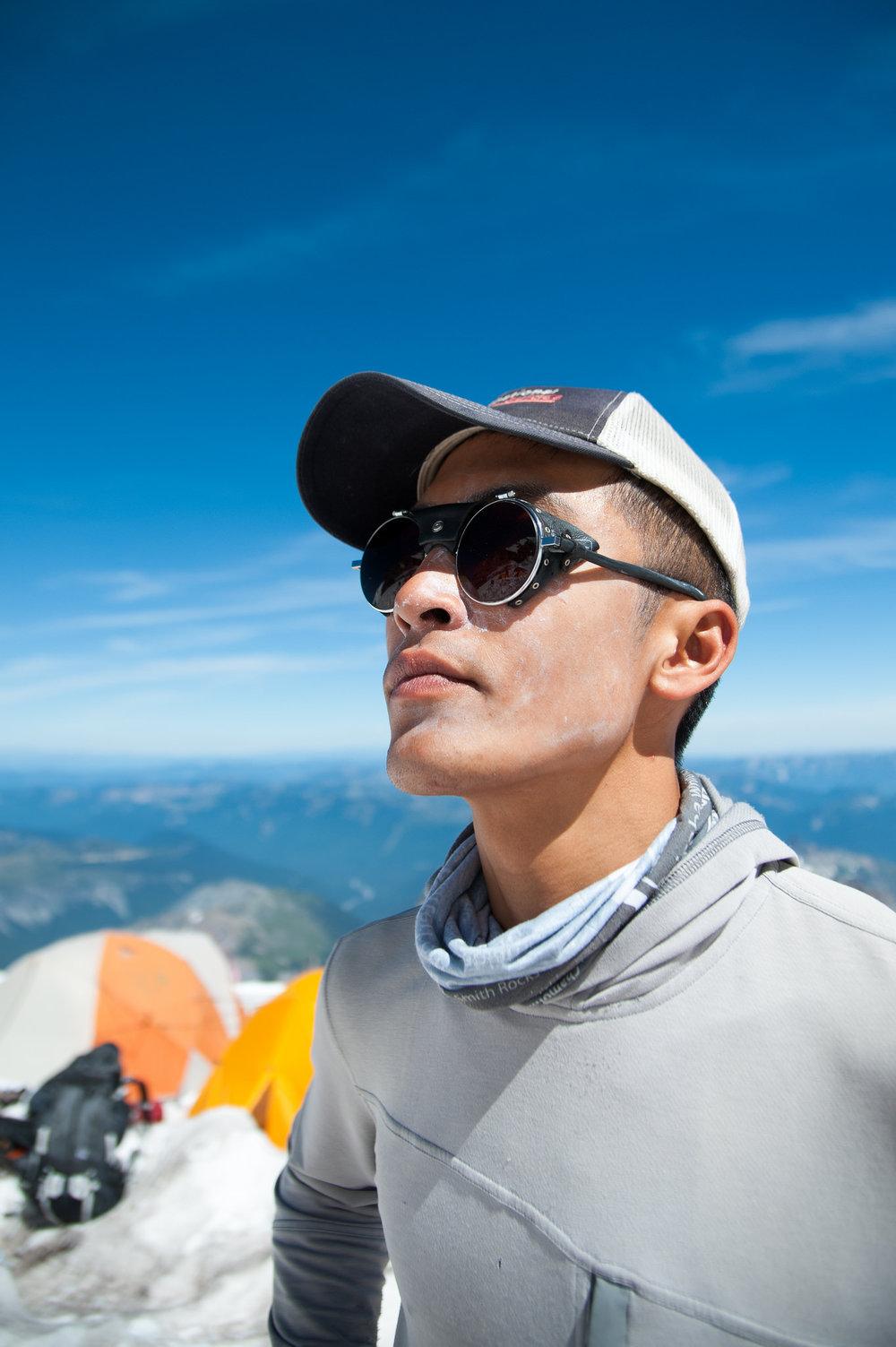 Mountaineering guide Don Nguyen at Ingraham Glacier on Mt. Rainier (Photo credit: Dan Bott)