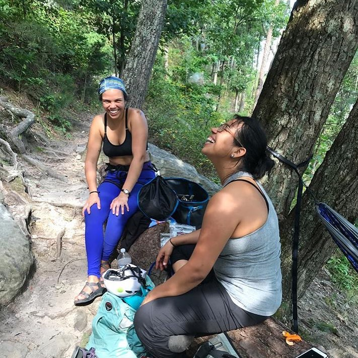 Two brown girls at the crag: Alma is laughing because I call  frijoles, habichuelas.  I'm laughing because she has no clue what  mangu con salami  is. This sounds like the start of a very delicious friendship!!