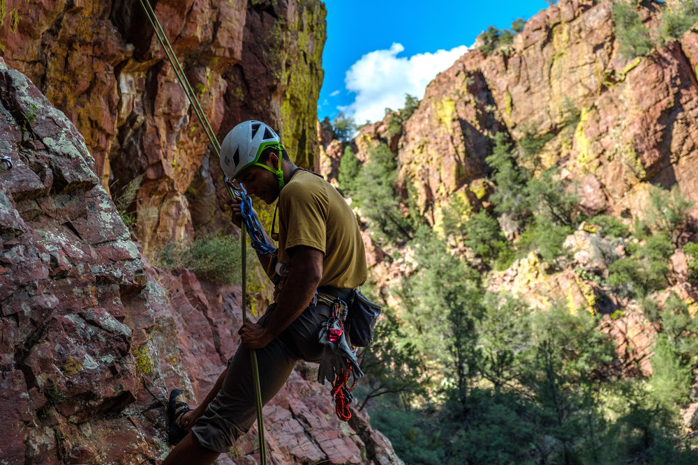 Adam Mitchell climbing in Isolation Canyon (Photo credit Brooke Whitcher).