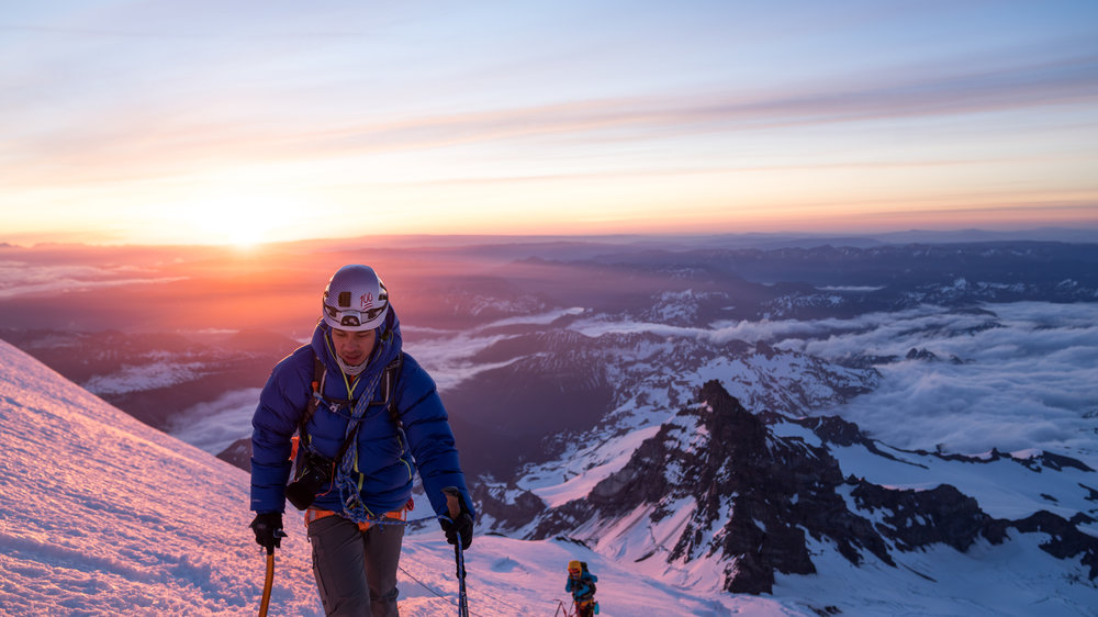 Eric Catig successfully summited Mt. Rainier (Tahoma) in May 2018 along with climbing partner, Keith Samson.  Photo credit:    Keith Samson