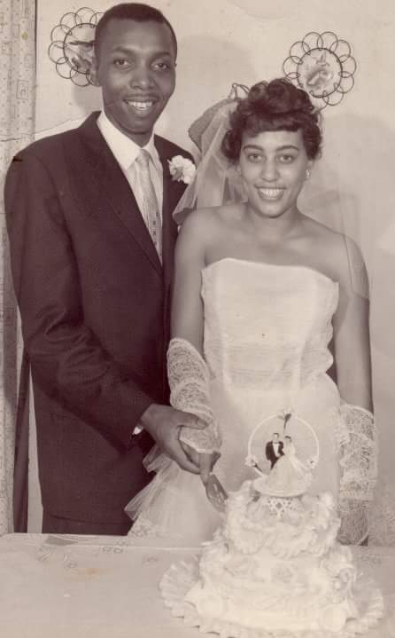 A photo of Justin's paternal grandparents on their wedding day.