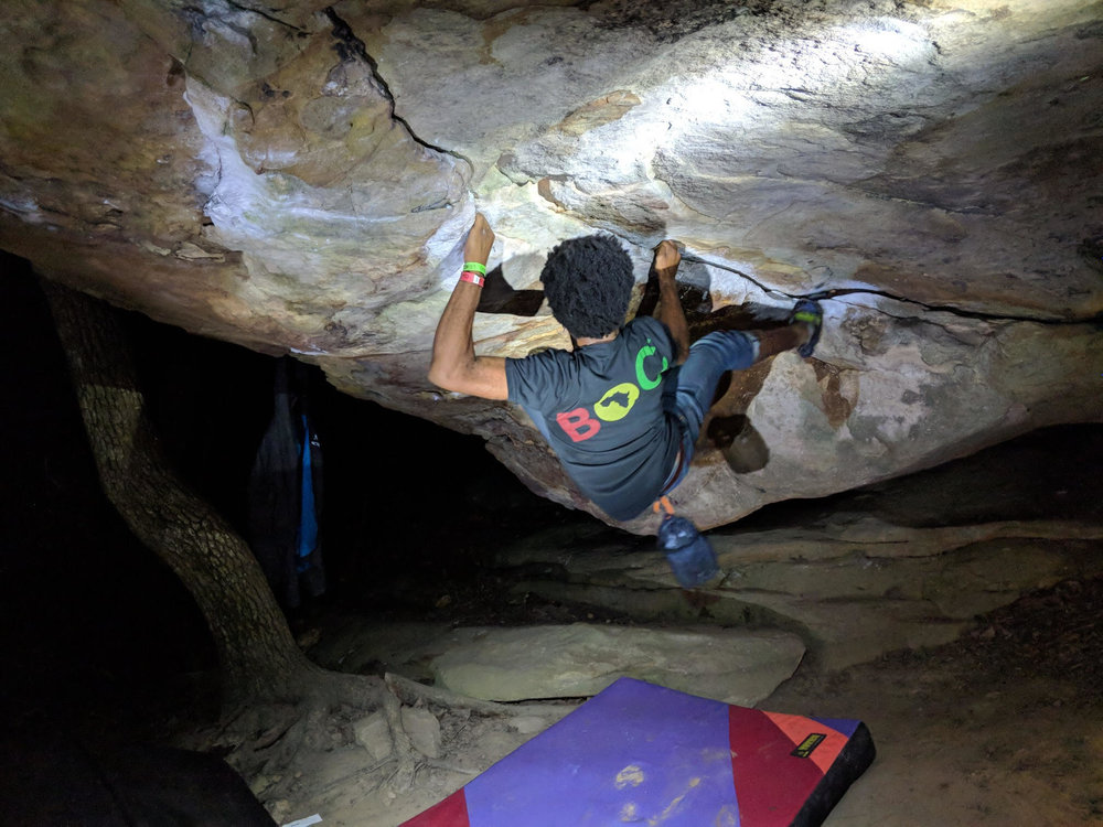 """After almost ten years of """"being the only one"""" Justin has found a community of ethnically diverse climbers through  Sending In Color  along with NYC based  Brothers of Climbing  which co-hosts the annual event  Color the Crag  in Steele, Alabama ( Photo credit:    Christine Joy Antonio   ) ."""