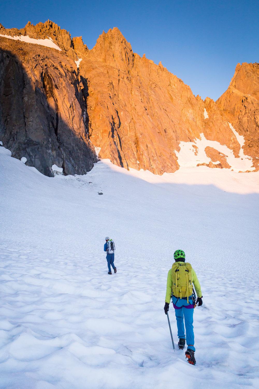 Norrøna's water-repellent Flex1 fabric makes for fewer worries during long walks on glaciers.  Photo Credit:    Derek Tse