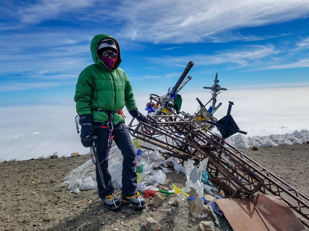 Photo credit: Nathan Kaul (Rebecca standing on the summit of Pico de Orizaba 18,490')