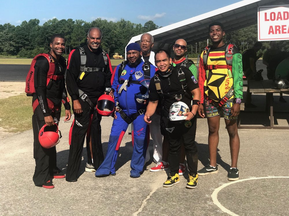 Nick (far left) poses for a photo with other Team Blackstar Skydivers during a 2018 meetup.  Photo credit: Danielle Williams