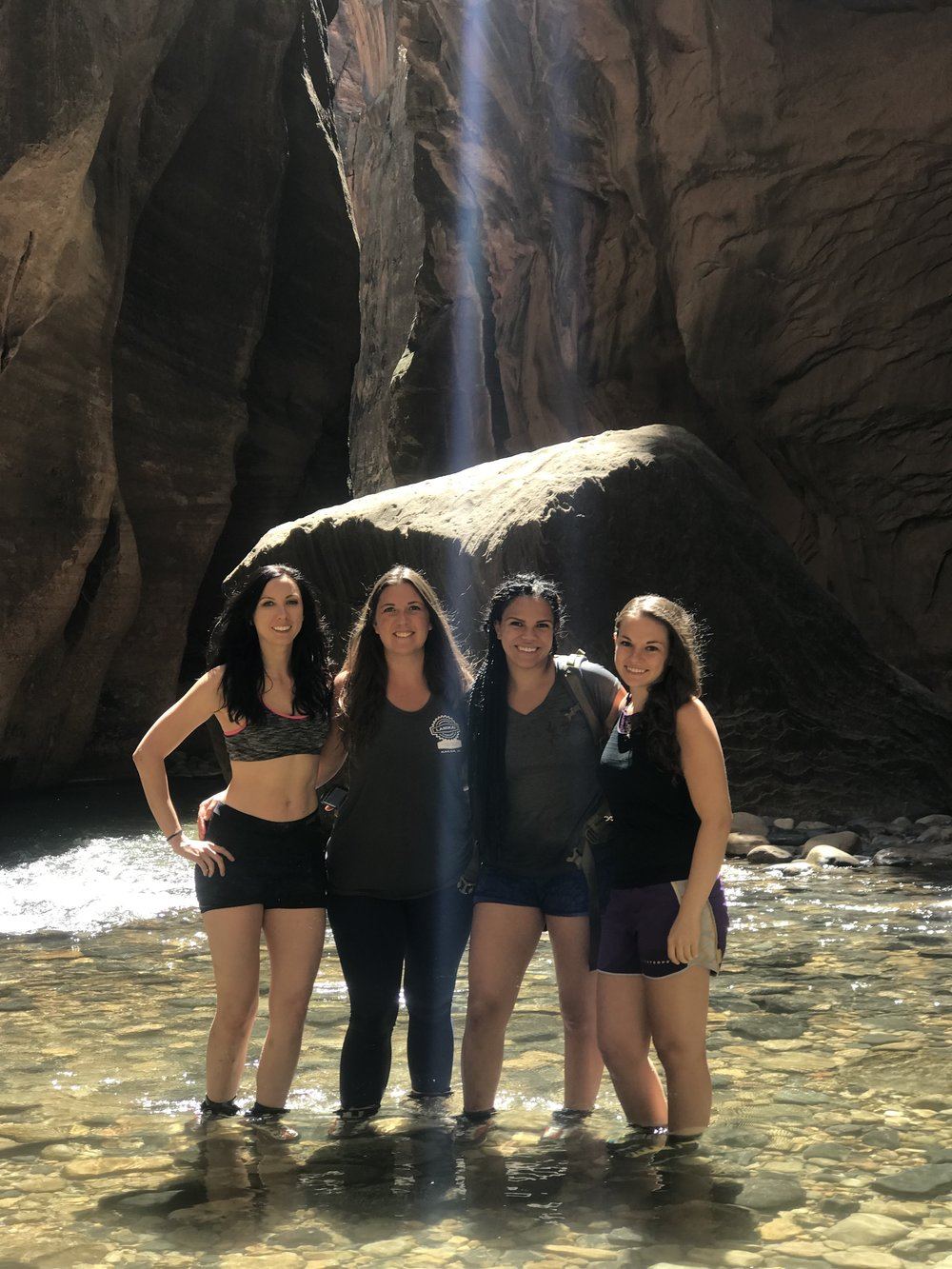 The Narrows, Zion National Park. Left to Right: Amber, Laura, Nadia, Melissa