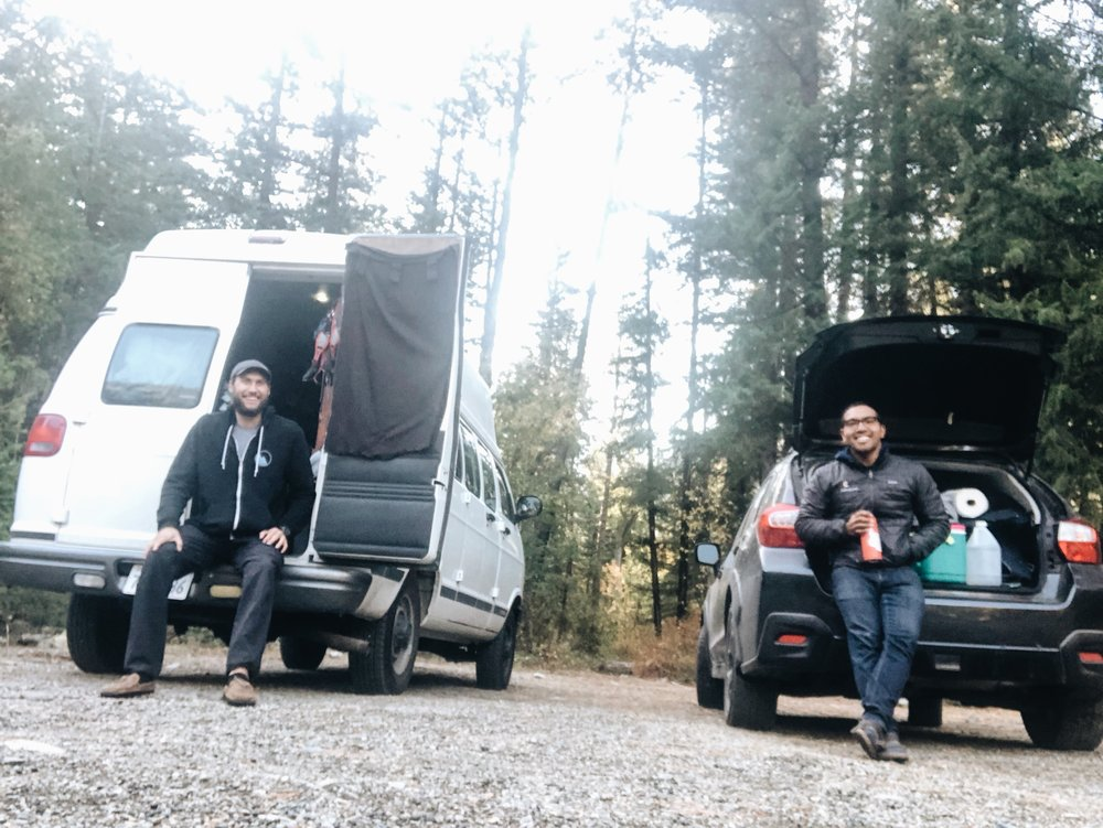 Ben (left) and the author (right) snap a photo with their homes on wheels in Mazama, WA.