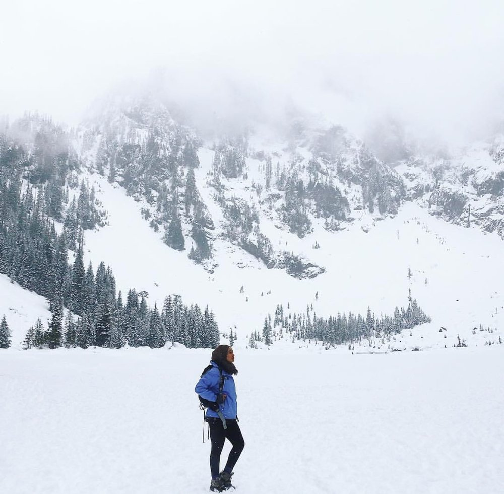Hamziye pauses to take in the scenery during a 4.6 mile hike at Heather Lake in the Mt. Baker-Snoqualmie National Forest.  Photo courtesy of Hamziye Aman.