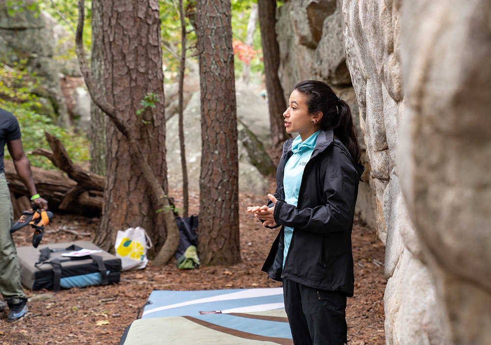 Professional climber  Nina Williams  talks warming up practices. Photo: Michael A. Estrada