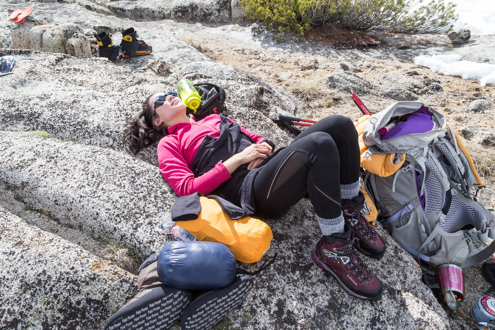 Resting after a strenuous approach to Mt. Thompson (13,494').  Photo credit:    Derek Tse   .