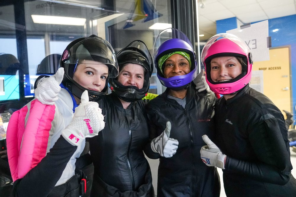 Sharon's 4-way indoor skydiving team recently competed at an event in North Carolina.  Photo credit:    Byrd's Eye Studio