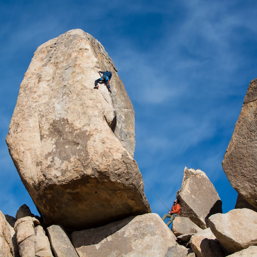 Cody climbing Headstone Rock in Joshua Tree National Park, CA. Photo courtesy of Whitney White