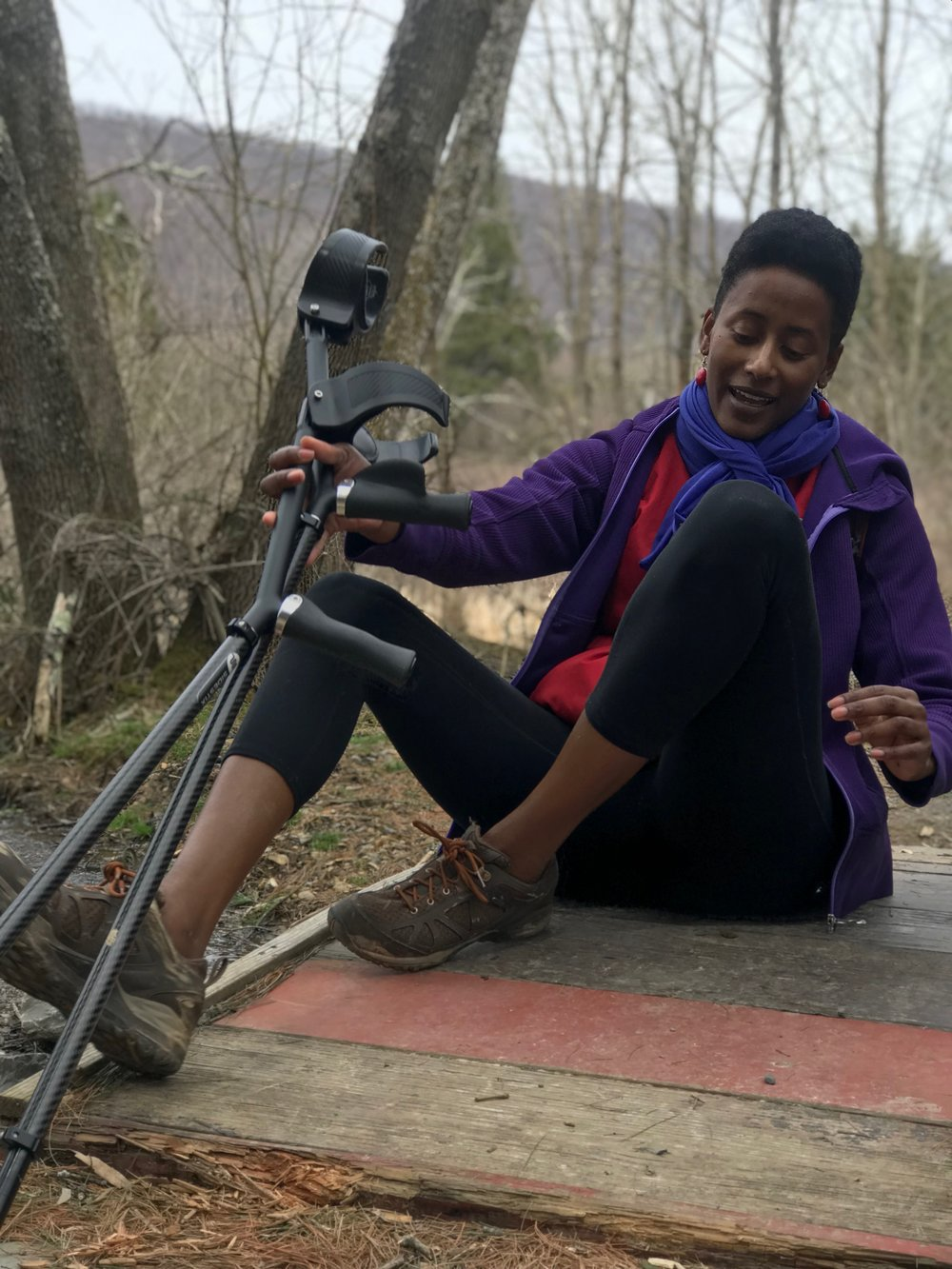 """Hanging out on a footbridge at Rocky Gap State Park on Haudenosauneega Confederacy ancestral land. I'm still on the trail; just so you know, I'm """"one of the good ones""""  Photo courtesy of Danielle Williams"""