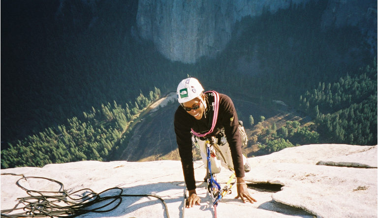 Emily Taylor  became the first black woman to send the Nose, a climbing route on El Capitán, Yosemite National Park in October 2003.  Photo courtesy of Jim Bridwell.