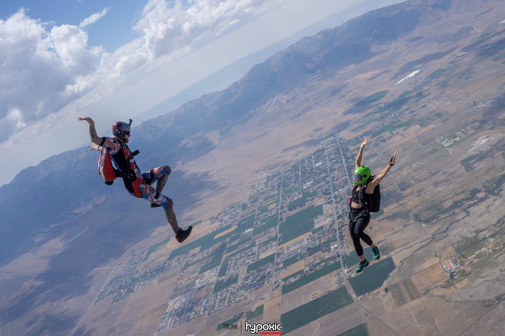A fun head up jump at Skydive Utah.  Photo credit:    Mark 'Trunk' Kirschenbaum   .