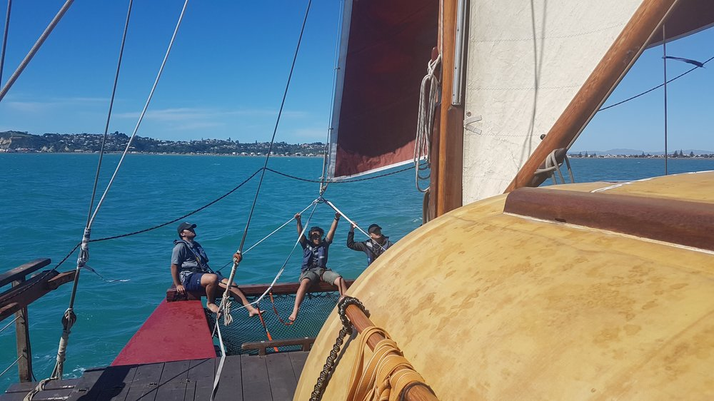 Students on board Te Matau a Māui, off the coast of Napier.