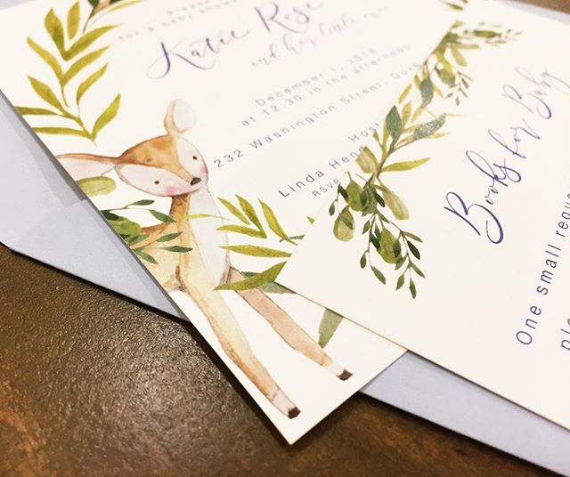 Sweet little forest creatures are #trending for baby showers and I'm not at all mad about it 🐰💙 • • • • • #babyshower #babyshowerideas #babyshowerinvitations #customstationery #watercolor #ohboybabyshower #ohdeer #watercolorfoliage