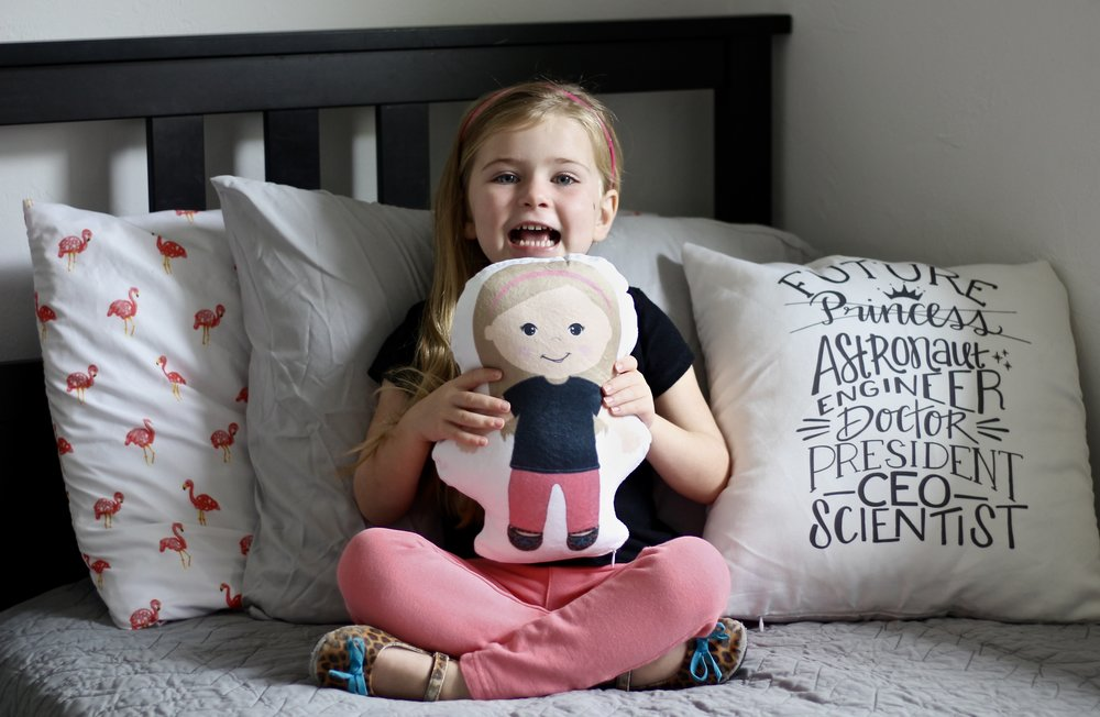 "Personalized doll  c/o  Veve & K .  ""Future…"" Pillowcase  by  Wire & Honey"