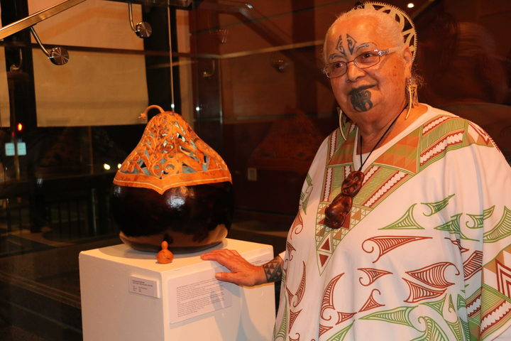 Hinewirangi Kohu Morgan uses tāonga pūoro (flute instruments) and hue in her work as an artist and to help victims of sexual assault. Photo: RNZ/Justine Murray