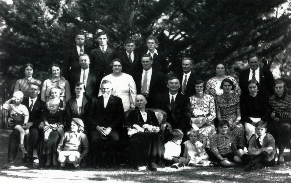 This is the full family, photographed with Samuel and Lavinia (centre) on their 50th wedding anniversary. This photo also includes My Grandfather (Howard) and Great Grandfather (Herbert Cleveland Gibbs) as well as Samuel who was my Great-Great Grandfather.