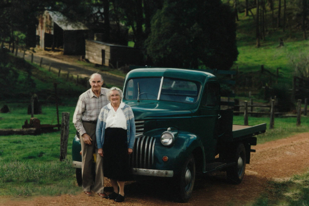 "These are Ryan's grandparents, Howard Basil Gibbs (affectionately known as ""Nug""), and Dorrie Gibbs. Pictured on the family farm where the Aylesbury wines are grown. This photo was taken roughly in 1995."