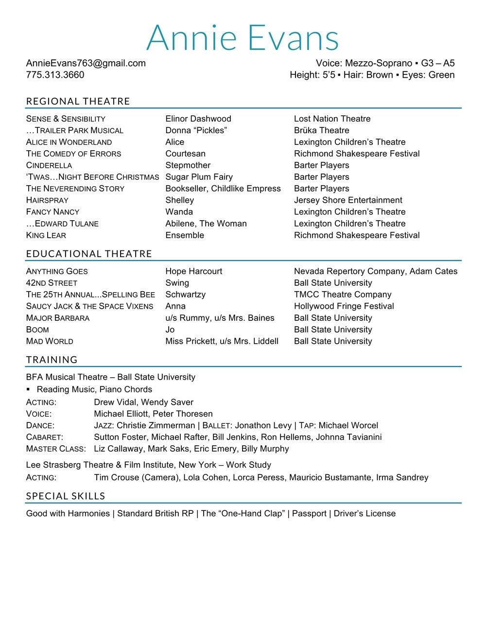 Resume — Annie Evans