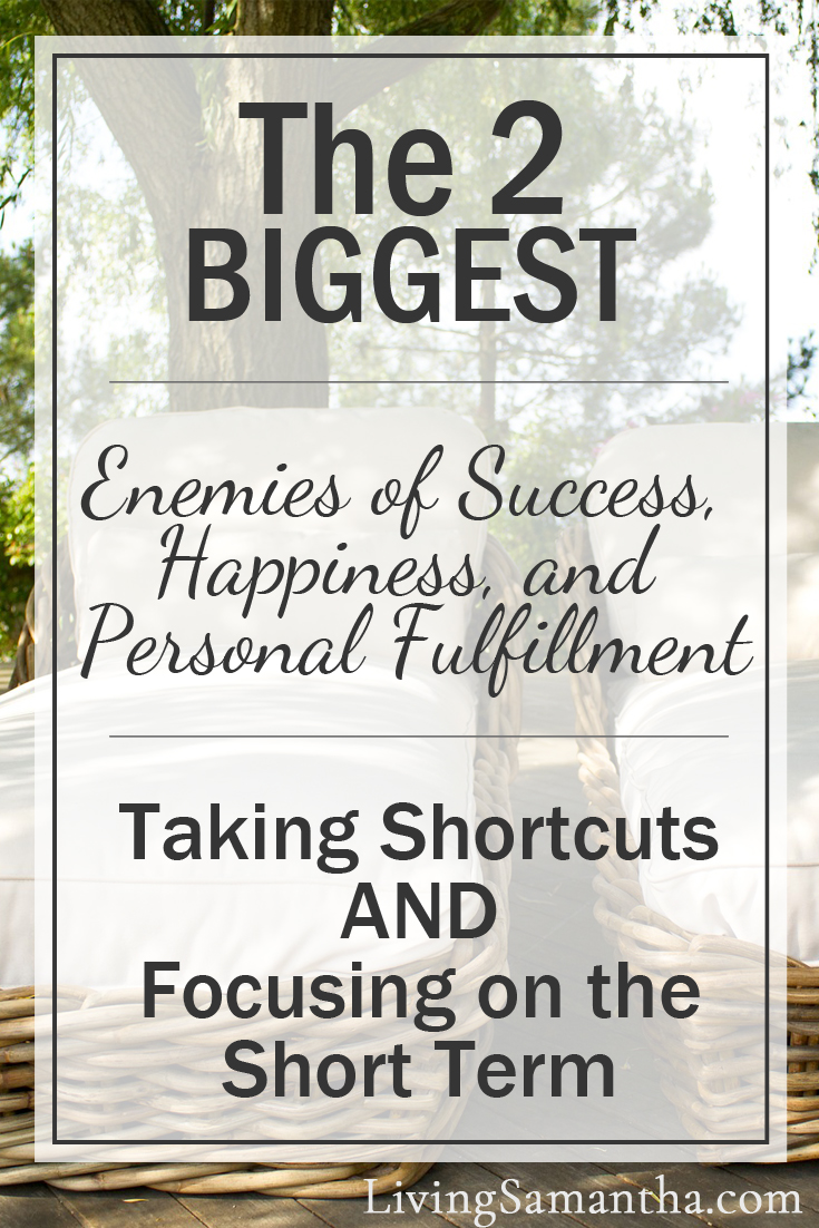 The 2 biggest enemies of success, happiness, and personal fulfillment are taking shortcuts and focusing on the short term. Change your habits. Get out of debt. Save for retirement. How habits lead to behavior modification.