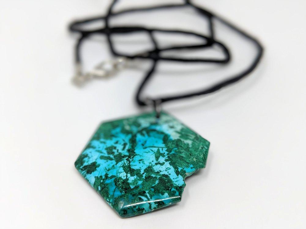 chrysocolla hand cut natural stone pendant green blue minerals jewelry hexagon polished .jpg